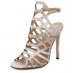 Khaki Snake Hexagonal Hollow Out Bird Cage Evening Stiletto High Heels Sandals Shoes