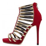 Red Gold Straps Roman Gladiator Evening Stiletto High Heels Sandals Shoes