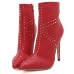 Red Jack Union Studs Point Head High Stiletto Heels Mid Boots Shoes