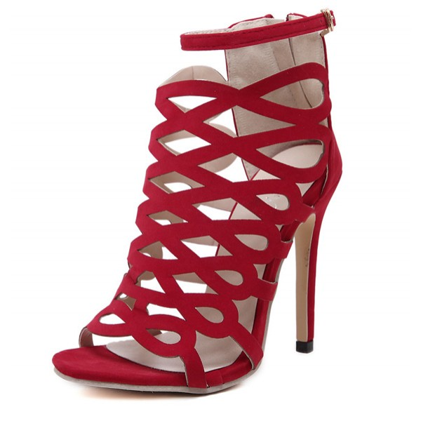 Red Suede Hollow Out Bird Cage Evening Stiletto High Heels Sandals Shoes