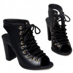 Black Lace Up Peeptoe High Top Punk Rock Ankle HIgh Heels Boots Sandals