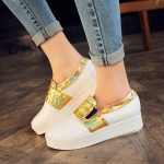 White Gold Platforms Sole Hidden Wedges Womens Sneakers Loafers Flats Shoes