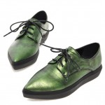 Green Vintage Point Head Lace Up Oxfords Sneakers Shoes