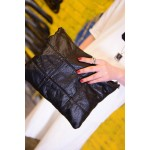 Black Lambskin Punk Rock Gothic Oversized Envelope Clutch Bag Purse