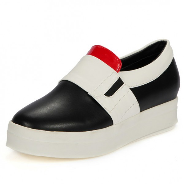 Black Red White Platforms Sole Hidden Wedges Womens Sneakers Loafers Flats Shoes