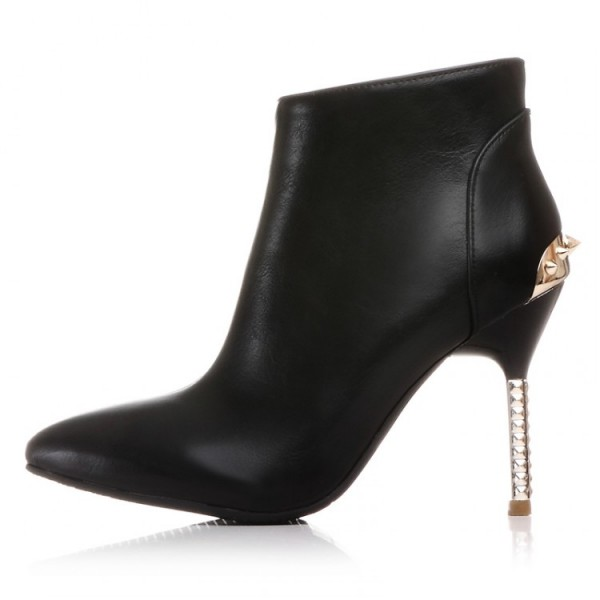 Black Spikes Point Head Stiletto High Heels Ankle Boots Shoes