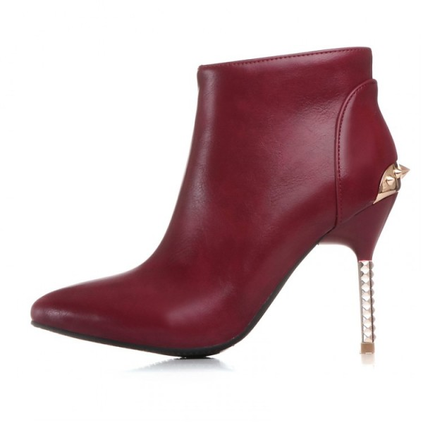 Burgundy Spikes Point Head Stiletto High Heels Ankle Boots Shoes