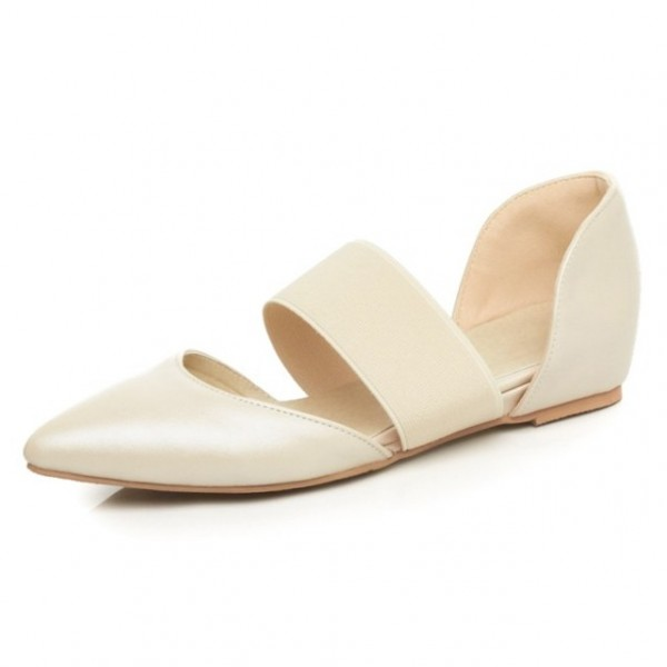 Cream Khaki Point Head Rubber Band Ballerina Ballet Flats Shoes