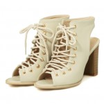 Cream Lace Up Peeptoe High Top Punk Rock Ankle HIgh Heels Boots Sandals