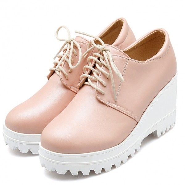 Pink White Platforms Wedges Sole Lace Up Oxfords Sneakers Shoes