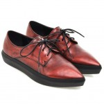 Red Vintage Point Head Lace Up Oxfords Sneakers Shoes