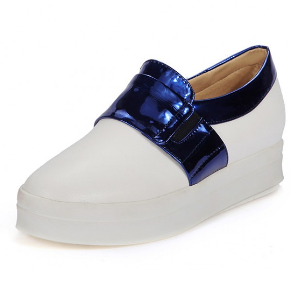 White Metallic Blue Platforms Sole Hidden Wedges Womens Sneakers Loafers Flats Shoes