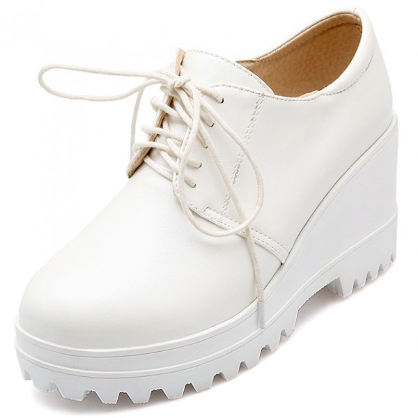White Platforms Wedges Sole Lace Up Oxfords Sneakers Shoes