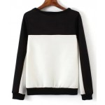 White Black Long Sleeve Sweatshirts Tops