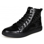 Black Patent Studs High Top Lace Up Punk Rock Sneakers Mens Shoes