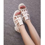 White Thin Straps Punk Rock Gladiator Roman High Heels Sandals Shoes