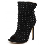 Black Suede Peeptoe Studs Punk Rock High Stiletto Heels Boots Shoes