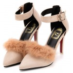 Pink Suede Rabbit Fur Pointed Head Ankle Straps Stiletto High Heels Shoes