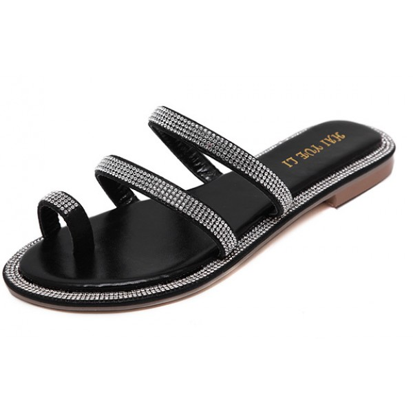 Black Diamante Crystals Embellished Straps Thumb Fancy Flip Flop Sandals Shoes