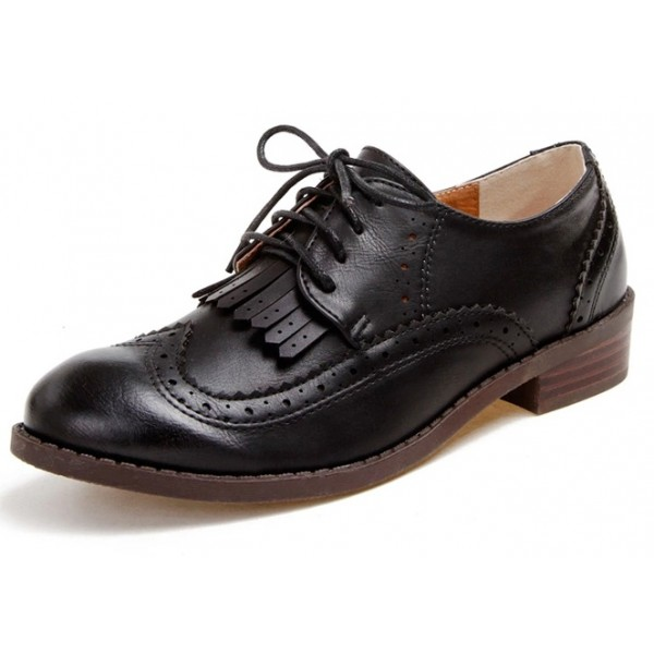 Black Leather Tassels Fringes Lace Up Vintage Womens Oxfords Flats Shoes