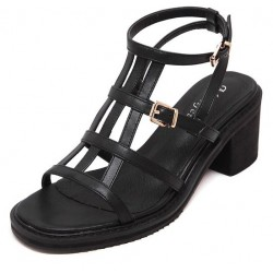 Black Thin Straps Punk Rock Gladiator Roman High Heels Sandals Shoes