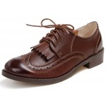Brown Leather Tassels Fringes Lace Up Vintage Womens Oxfords Flats Shoes