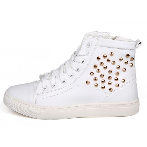 White Patent Gold Studs High Top Lace Up Punk Rock Sneakers Mens Shoes