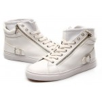 White High Top Side Zipper Punk Rock Sneakers Mens Shoes