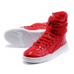 Red Patent High Top Lace Up Punk Rock Sneakers Mens Shoes
