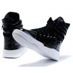 Black Patent High Top Lace Up Punk Rock Sneakers Mens Shoes