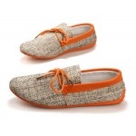 Orange Sole Linen Knitted Mens Casual Flats Loafers Shoes
