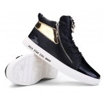 Black Patent Gold Lace Up Side Zipper High Top Mens Sneakers Shoes Boots