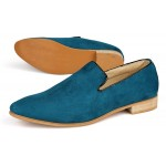 Blue Teal Suede Mens Oxfords Flats Loafers Dress Shoes