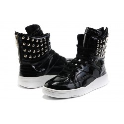 Black Patent Metal Studs High Top Lace Up Punk Rock Sneakers Mens Shoes