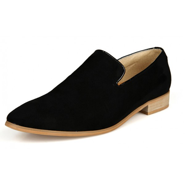 Black Suede Mens Oxfords Flats Loafers Dress Shoes