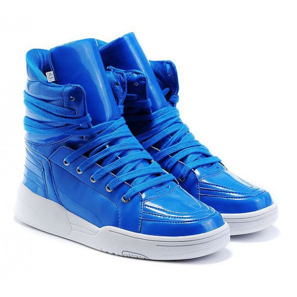 Blue Patent High Top Lace Up Punk Rock Sneakers Mens Shoes