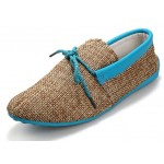 Blue Sole Linen Knitted Mens Casual Flats Loafers Shoes