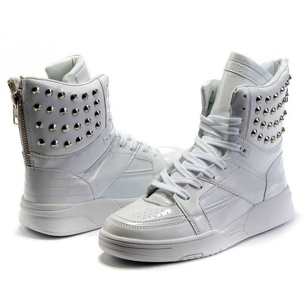 White Patent Metal Studs High Top Lace Up Punk Rock Sneakers Mens Shoes