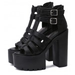 Black T Strap Block Chunky Sole High Heels Gladiator Platforms Sandals Shoes