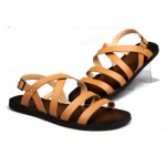 Khaki Leather Straps Mens Gladiator Roman Sandals Shoes