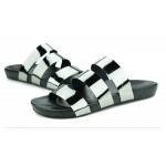Silver Grey Metal Shiny Tri Straps Mens Gladiator Roman Sandals