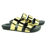 Gold Metal Shiny Tri Straps Mens Gladiator Roman Sandals