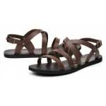 Brown Leather Straps Mens Gladiator Roman Sandals Shoes