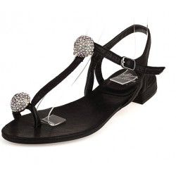 Black Diamante Crystals Balls T Strap Fancy Bridal Flats Evening Sandals Shoes