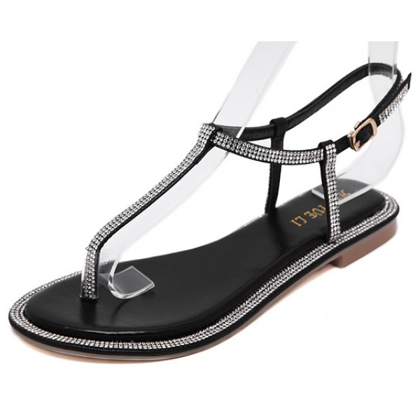 Black Diamante Crystals Embellished T Strap Fancy Bridal Flats Evening Sandals Shoes