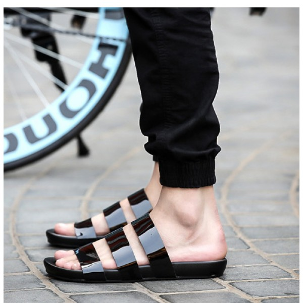 Black Glossy Tri Straps Mens Gladiator Roman Sandals