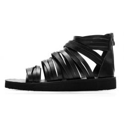 Black Multiple Thin Straps Mens Designer Inspired Gladiator Roman Sandals