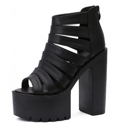 Black Strap Block Chunky Sole High Heels Gladiator Platforms Sandals Shoes