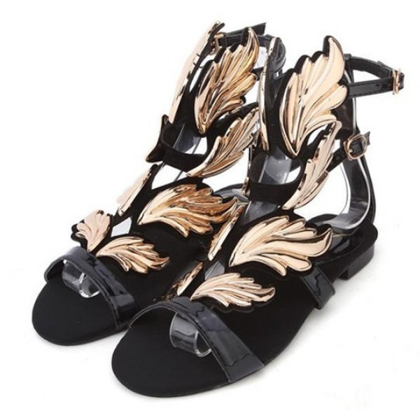 Black Suede Straps Gold Angel Wings Gladiator Evening Sandals Shoes