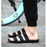 Black Tri Rubber Bands Straps Mens Roman Gladiator Sandals